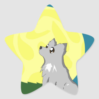 Cute Scruffy Wolf with Moon Star Sticker