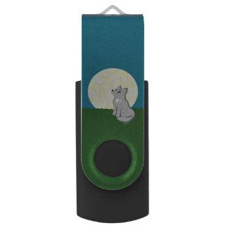 Cute Scruffy Wolf with Moon Swivel USB 2.0 Flash Drive