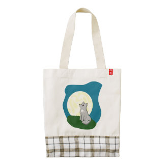 Cute Scruffy Wolf with Moon Zazzle HEART Tote Bag