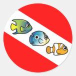 Cute Scubadorable Dive Flag Round Sticker