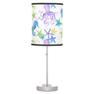 Beach Themed Cute Sea Animal Beach Starfish Seahorse Watercolor Table Lamp