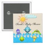 Cute Sea Animals Baby Shower 2 Inch Square Button