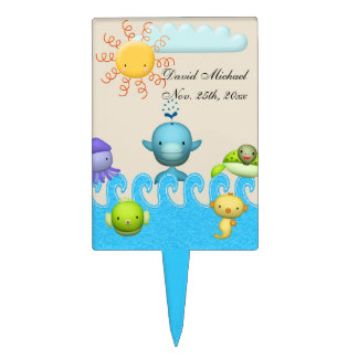 Cute Sea Animals Baby Shower Cake Topper