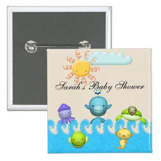 Cute Sea Animals Baby Shower Pinback Button