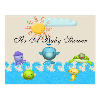 Cute Sea Animals Baby Shower Post Card