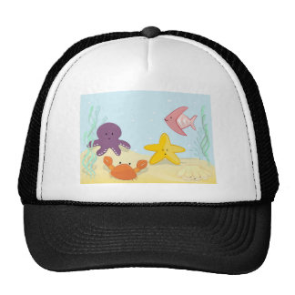 Cute sea animals trucker hat