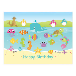 Cute sea animals Kids Birthday Postcard