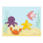 Cute sea animals postcard