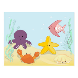 Cute sea animals postcard