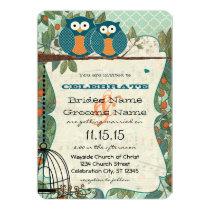 Cute Sea Blue Owl Marry My Best Friend Wedding Card