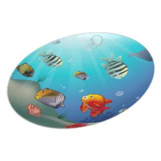 Cute Sea Creatures Cartoon Plate