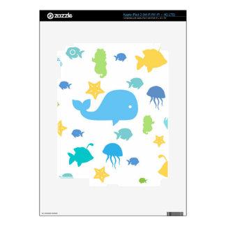 Cute Sea Creatures Skin For iPad 3