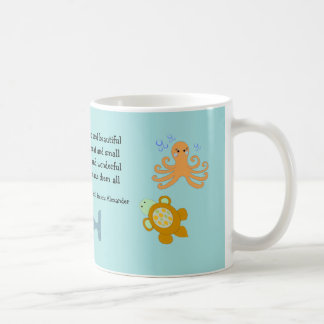 Cute Sea Creatures with Inspirational Quote Classic White Coffee Mug