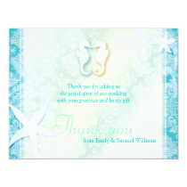 Cute Sea Horse Couple Wedding Thank You Card