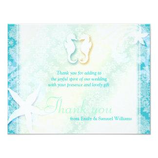 Cute Sea Horse Couple Wedding Thank You Card
