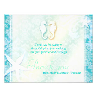 Cute Sea Horse Couple Wedding Thank You Flat Cards Invitations