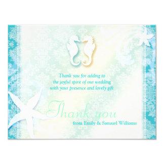 Cute Sea Horse Couple Wedding Thank You Flat Cards