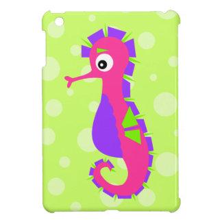 Cute Sea Horse in Ocean Cartoon Pink Green Purple Cover For The iPad Mini