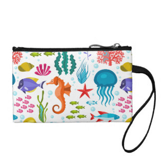 Cute Sea Life Colorful Illustration Change Purse