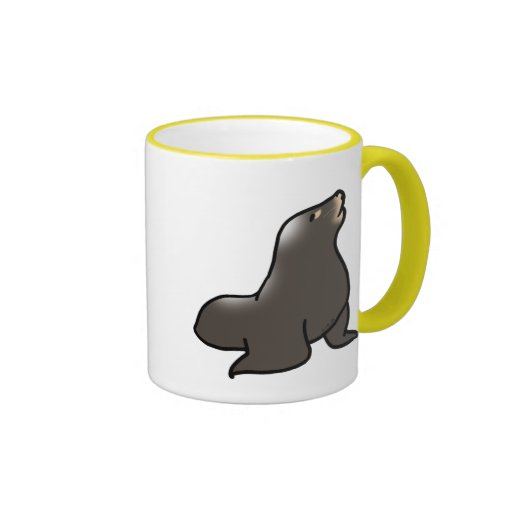 Cute sea lion ringer coffee mug