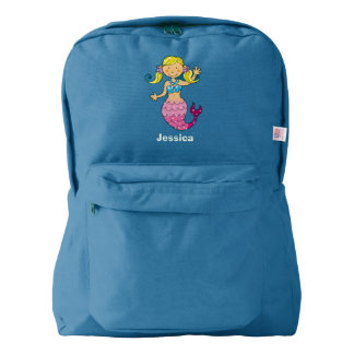 cute sea mermaid princess girl (blonde hair) american apparel™ backpack