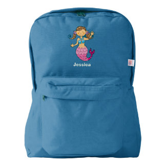 cute sea mermaid princess girl (brown hair) backpack