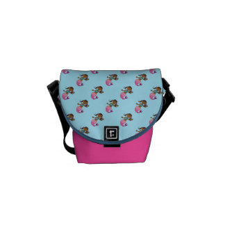 cute sea mermaid princess girl (dark hair) messenger bag