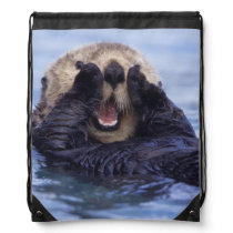 Cute Sea Otter | Alaska, USA Drawstring Bag