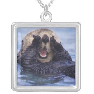 Cute Sea Otter   Alaska, USA Square Pendant Necklace