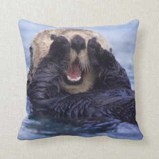 Cute Sea Otter | Alaska, USA Throw Pillow