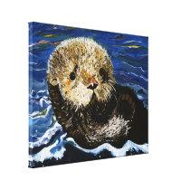 Cute Sea Otter Canvas Print