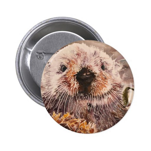 Cute Sea Otter Environmentalist Button Save Otters