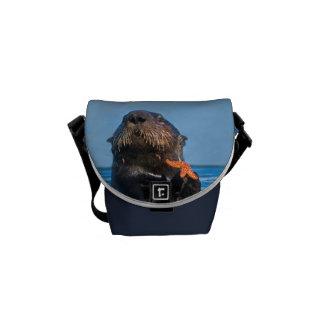 Cute Sea Otter Holding Starfish Mini Messenger Bag