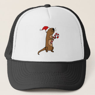 Cute Sea Otter in Santa Hat Christmas Cartoon