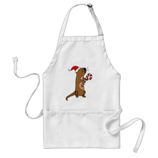 Cute Sea Otter in Santa Hat Christmas Cartoon Adult Apron