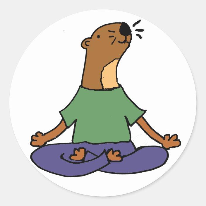 Cute Sea Otter Practicing Yoga Cartoon Classic Round Sticker Zazzle Com