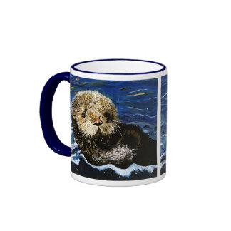 Cute Sea Otter Ringer Coffee Mug