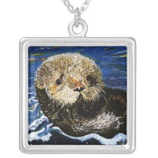 Cute Sea Otter Square Pendant Necklace