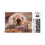 Cute Sea Otter Watercolor Postage Stamps