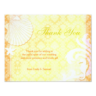 Cute Sea Shell + Sea Horse Beach Wedding Thank You Card