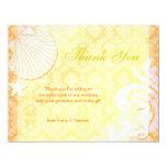 Cute Sea Shell + Sea Horse Beach Wedding Thank You 4.25x5.5 Paper Invitation Card