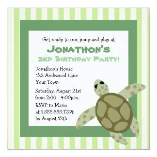 Cute Sea Turtle Birthday Party Invite - Green