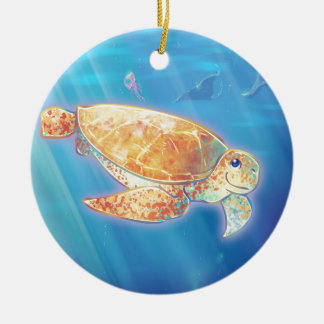Cute Sea Turtle Ceramic Ornament