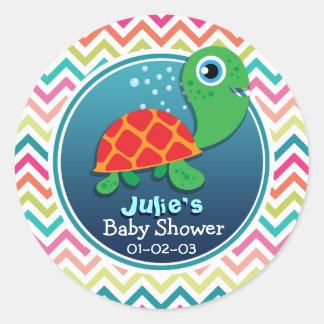 Cute Sea Turtle; Colorful Chevron Baby Shower Classic Round Sticker