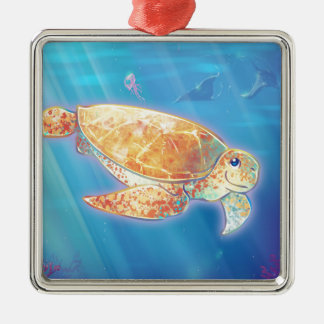 Cute Sea Turtle Metal Ornament