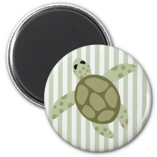 Cute Sea Turtle on Green Stripe 2 Inch Round Magnet