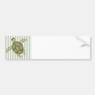 Cute Sea Turtle on Green Stripe Bumper Sticker