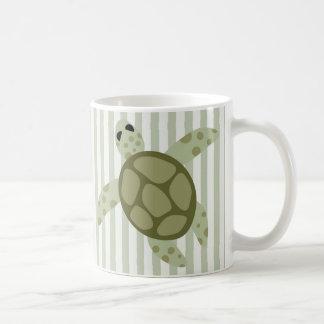Cute Sea Turtle on Green Stripe Coffee Mug