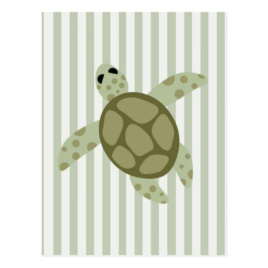 Cute Sea Turtle on Green Stripe Postcard