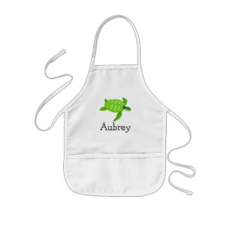 Cute sea turtle personalized with childs name kids' apron